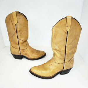 Walker Vintage Tan Marbled Leather Cowgirl Boots 6